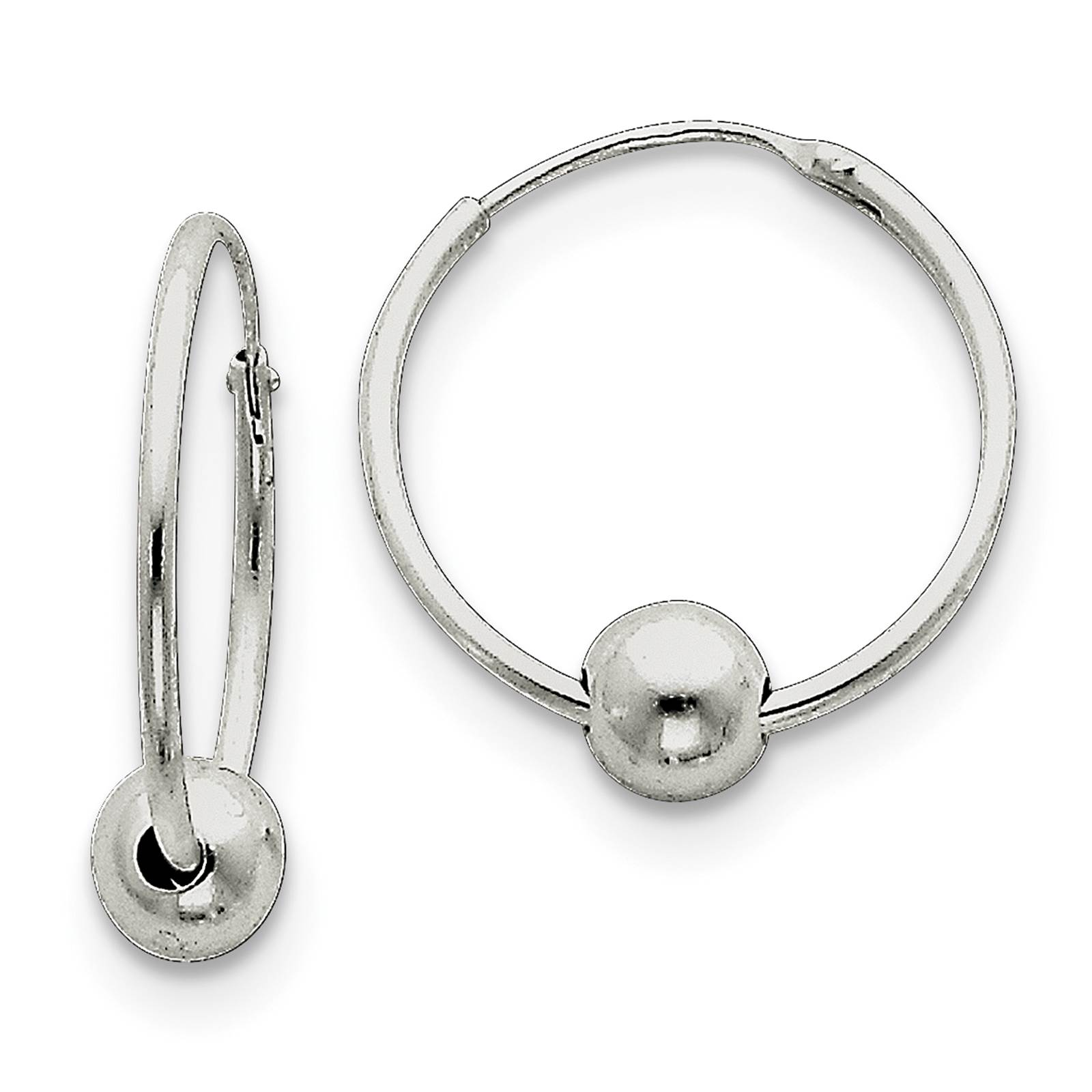 925 Sterling Silver 1.5mm x 22mm Bead Polished Endless Hoop Earrings