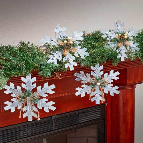 Merveilleux Ginsengstone Set Of 4 Snowflakes Ornaments Farmhouse Country Christmas  Decorations Home Decor