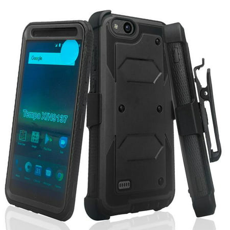 Main Blade Aluminum Case (ZTE Tempo X, N9137, ZTE Blade Vantage Case, Triple Protection 3-1 w/ Built in Screen Protector Heavy Duty Holster Shell Combo Case Cover - Black)