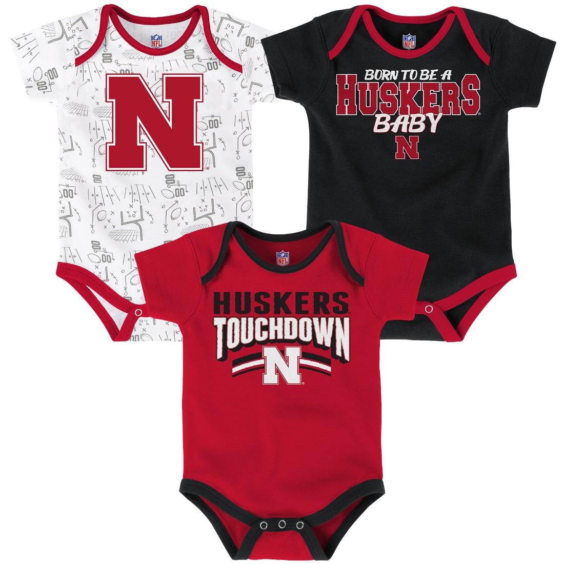 "Nebraska Cornhuskers NCAA ""Playmaker"" Newborn 3 Pack Bodysuit Creeper Set"