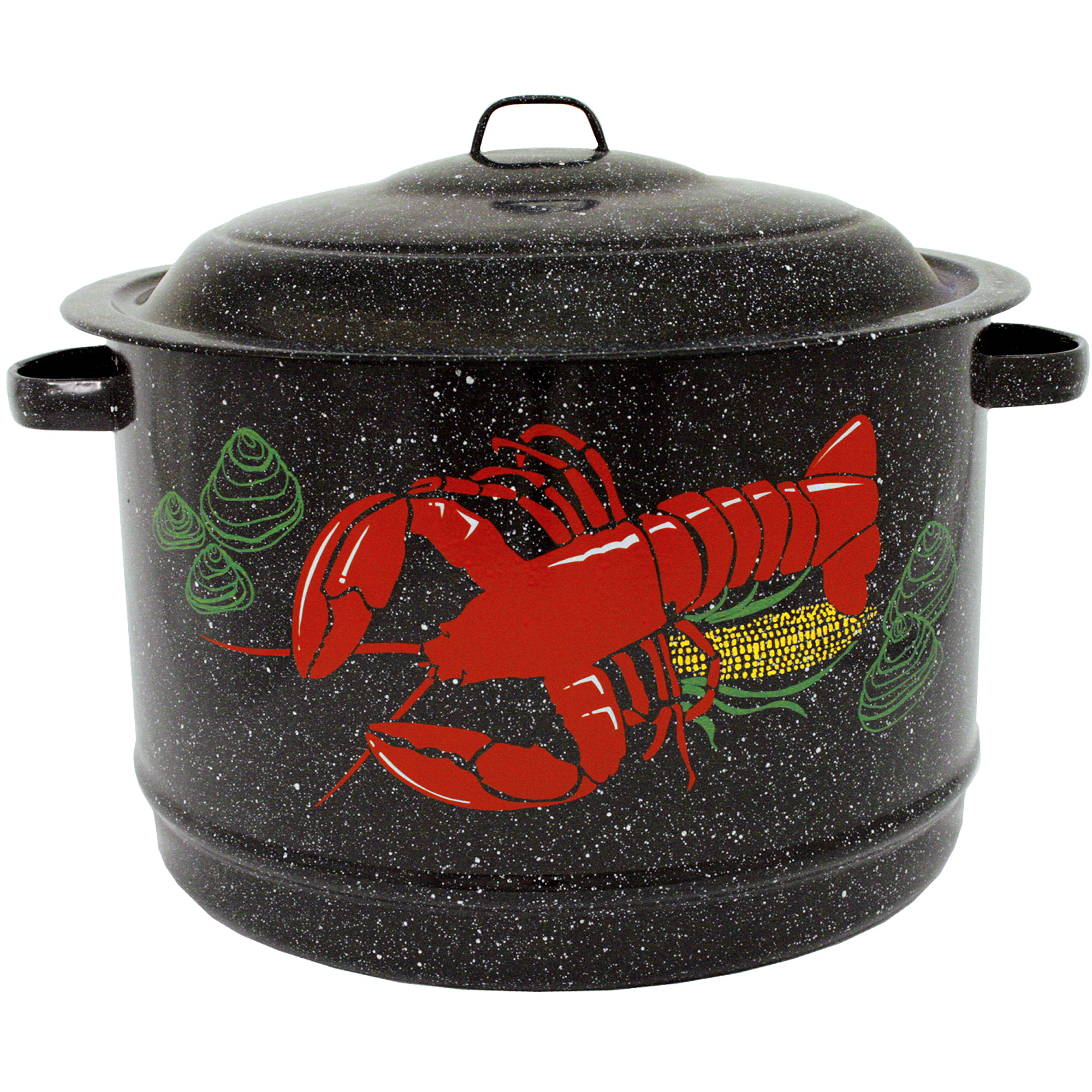 Granite Ware 19-Quart Decorated Lobster Pot, Black