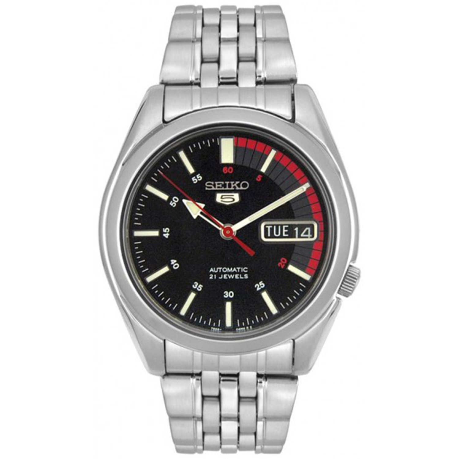 Seiko Men's 5 Automatic SNK375K Black Stainless-Steel Automatic Fashion Watch