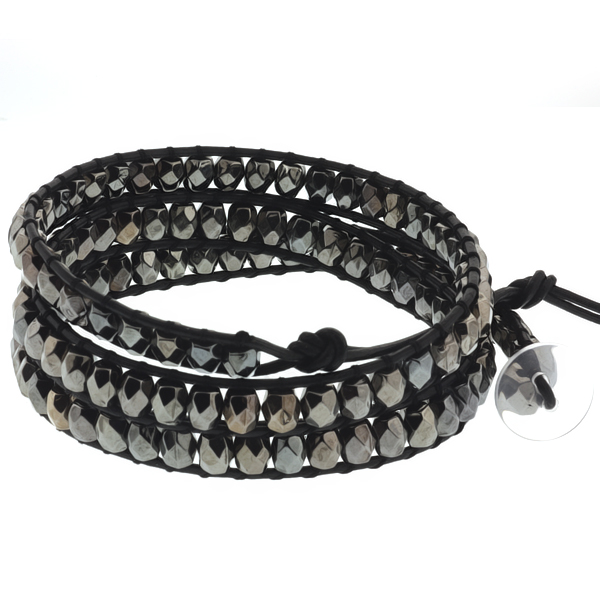"24"" Cross Cut Black Beads on Black Leather Wrap Bracelet with White Button"
