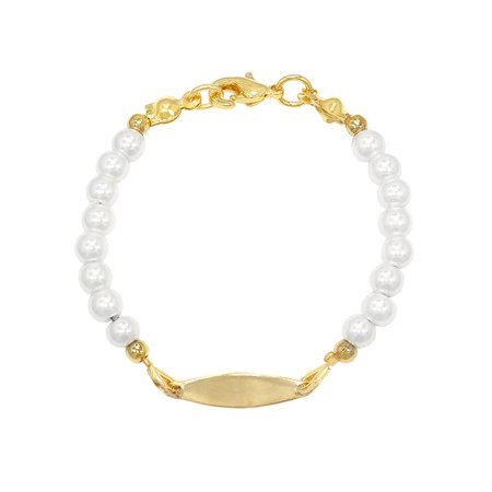 18k Gold Plated ID Tag White Simulated Pearl Bracelet for Girls 5