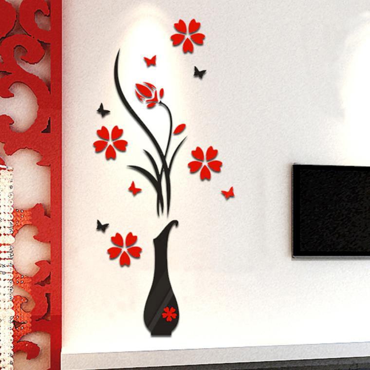 Big clearance!!!iLH Mallroom DIY Vase Flower Tree Crystal Arcylic 3D Wall Stickers Decal Home Decor