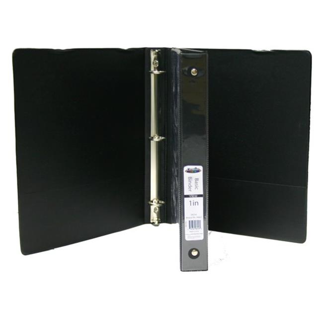 YDB 1 in. View Binder with Inner Pockets, Black - Case of 12