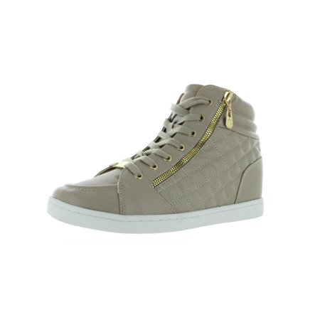 G by Guess Womens Daryl Faux Leahter High Top Sneakers Beige 5 Medium (B,M)