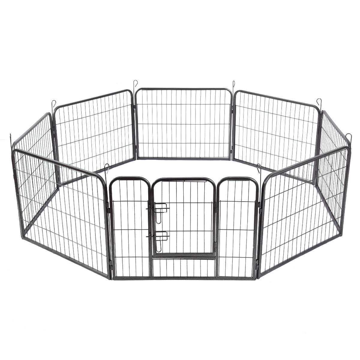 Gymax 24'' 8 Panel Pet Puppy Dog Playpen Door Exercise Kennel Fence Metal