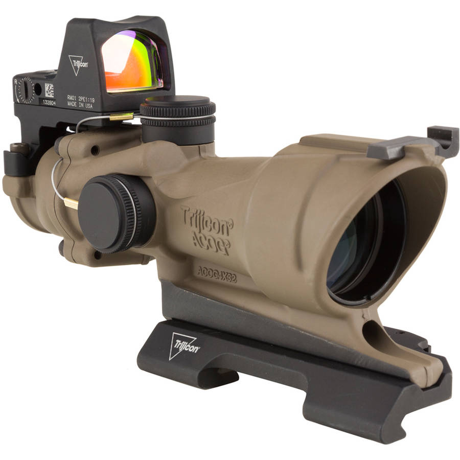 Trijicon ACOG Rifle Scope, 4X32, Amber Crosshair .223 Reticle, Includes Docter Sight, Dark Earth