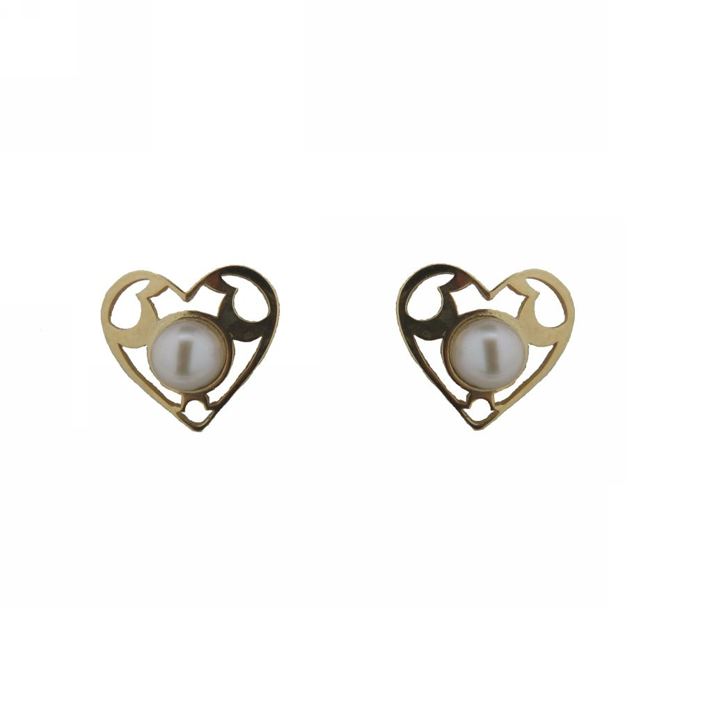 18K Yellow Gold Heart with Pearl Screwback earrings (7mm with 3mm Pearl) by