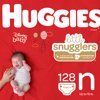 HUGGIES Little Snugglers Diapers, Size Newborn, 128 Count