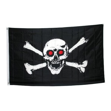 Jolly Roger With Red Eyes Pirate Flag, Jolly Roger With Red Eyes Pirate Flag 3x5ft By Ruffin Flag Company