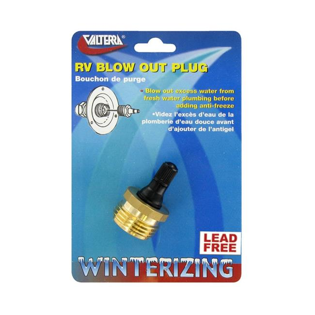 Valterra V46-P23518LFVP Blow Out Plug Brass with Valve, LF - Carded