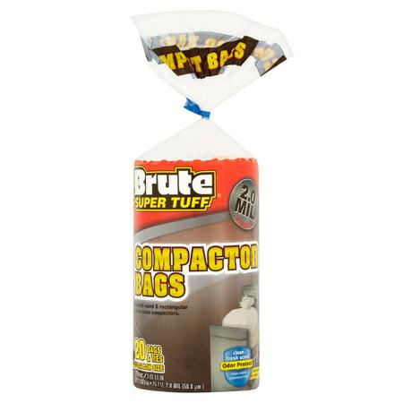 (2 Pack) Brute Super Tuff CompaCountor Twist Tie Trash Bags, 20 Gallon, 20