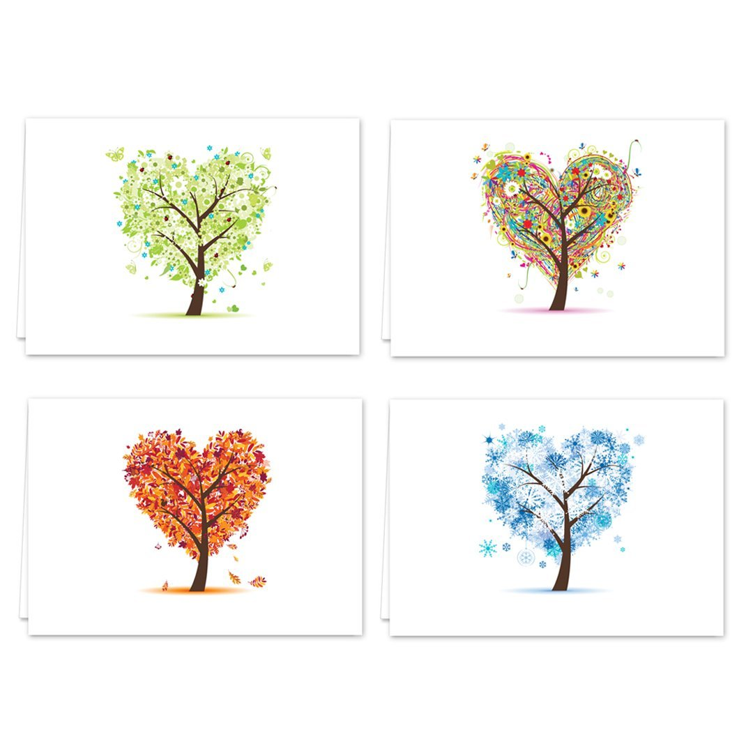 Seasons of Life Note Card Assortment Pack - Set of 24 cards - 4 designs blank inside - with white envelopes