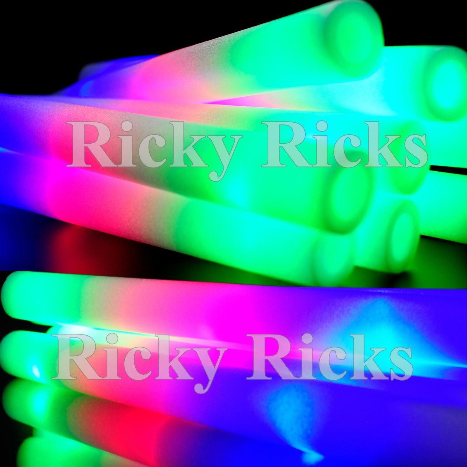 50 Pack Light-Up Foam Sticks LED Rally Rave Cheer Tube Soft Glow Baton Wands
