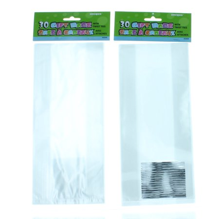 60 Clear Cello Treat Bags With Twist Ties Party Favors Cellophane
