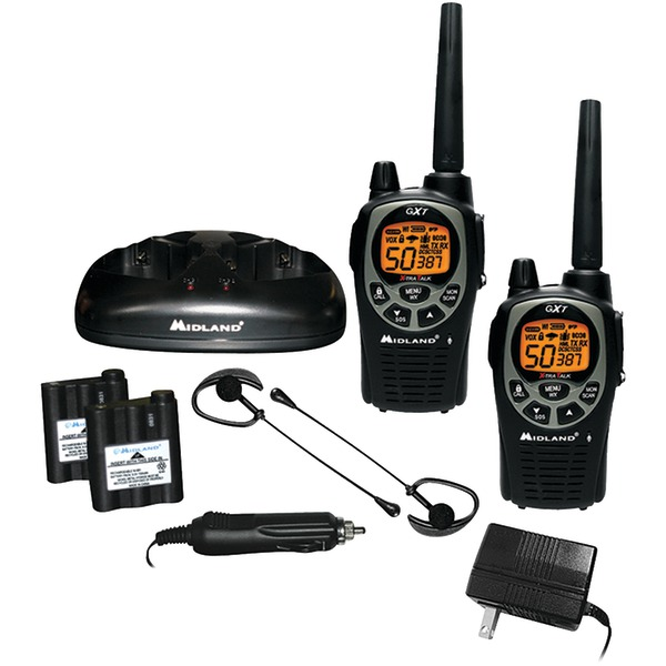 MIDLAND GXT1000VP4 36-Mile GMRS Radio Pair Pack with Drop-in Charger & Rechargeable Batteries