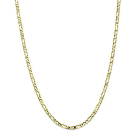 10K Yellow Gold 4mm Light Concave Figaro Chain 22 Inch
