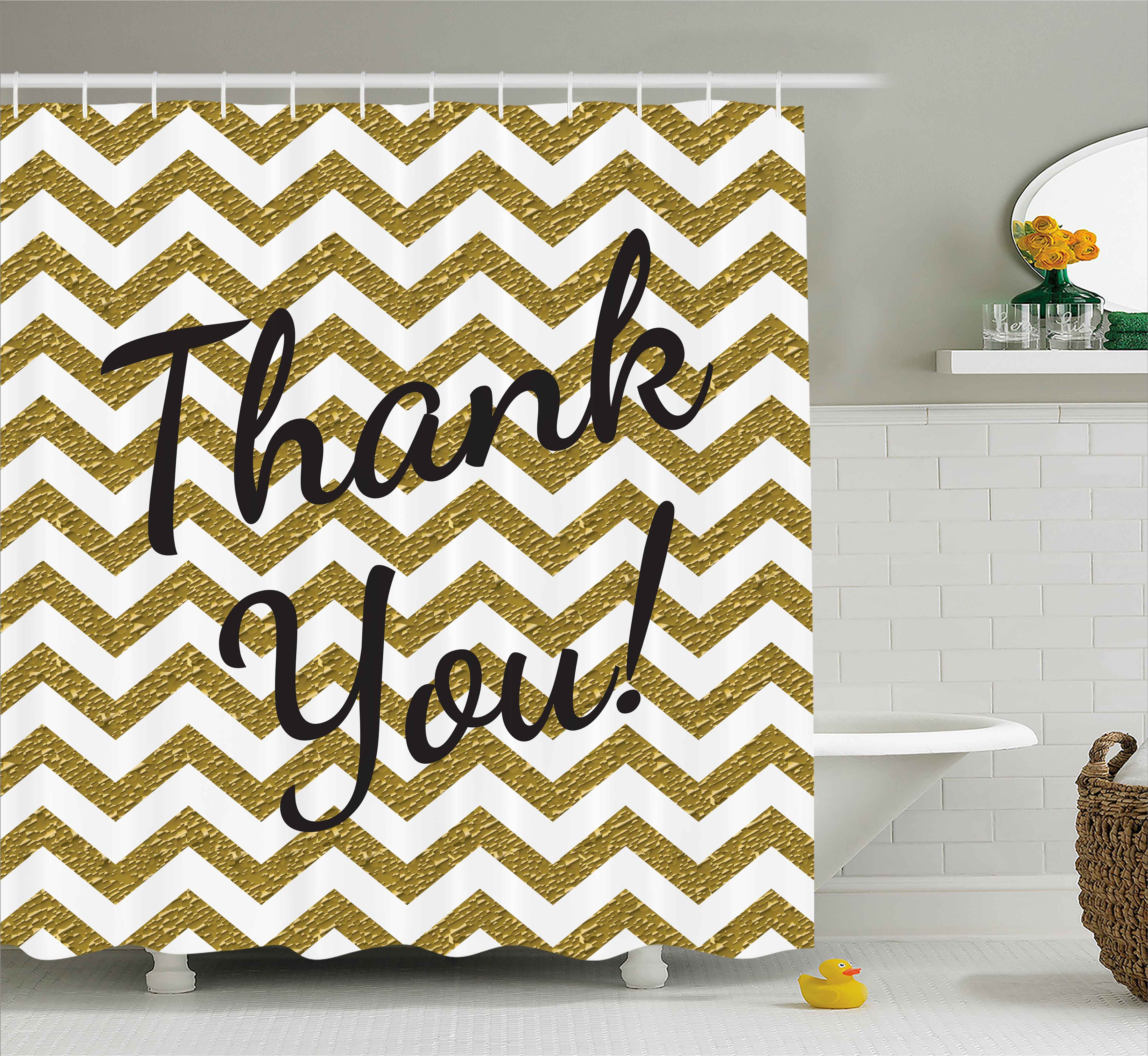 Modern Shower Curtain, Geometric Zig Zag Colored Little Stones like Stripes with Thank You Quote Print, Fabric Bathroom Set with Hooks, 69W X 75L Inches Long, Gold and White, by Ambesonne