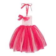 Girls Hot Pink Halter Strap Bow Tutu Flower Girl Dress 12M-7