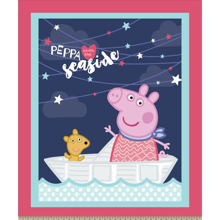 Peppa Pig The Seaside Panel Cotton Fabric By The Yard