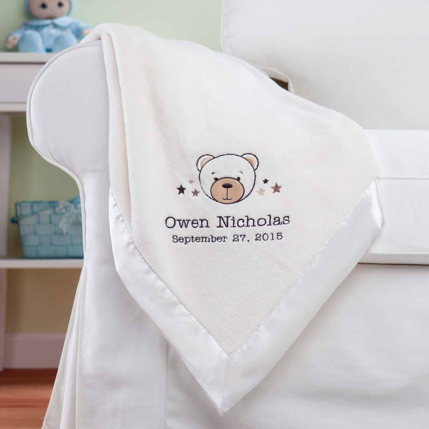 Personalized Sweet Bear Cream Baby Blanket