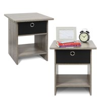 Furinno End Table/ Night Stand Storage Shelf with Bin Drawer, Espresso, Set of two