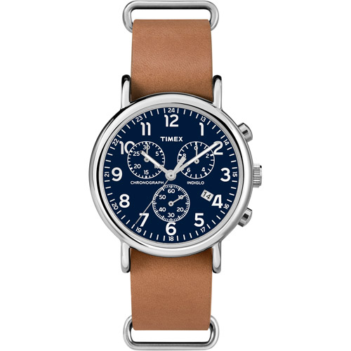Timex Weekender Forty Chrono Watch, Tan Leather NATO-Style Slip-Thru Strap by Timex