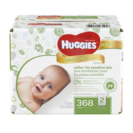 Huggies Natural Care Baby Wipes, Fragrance Free Refills (368 ct)