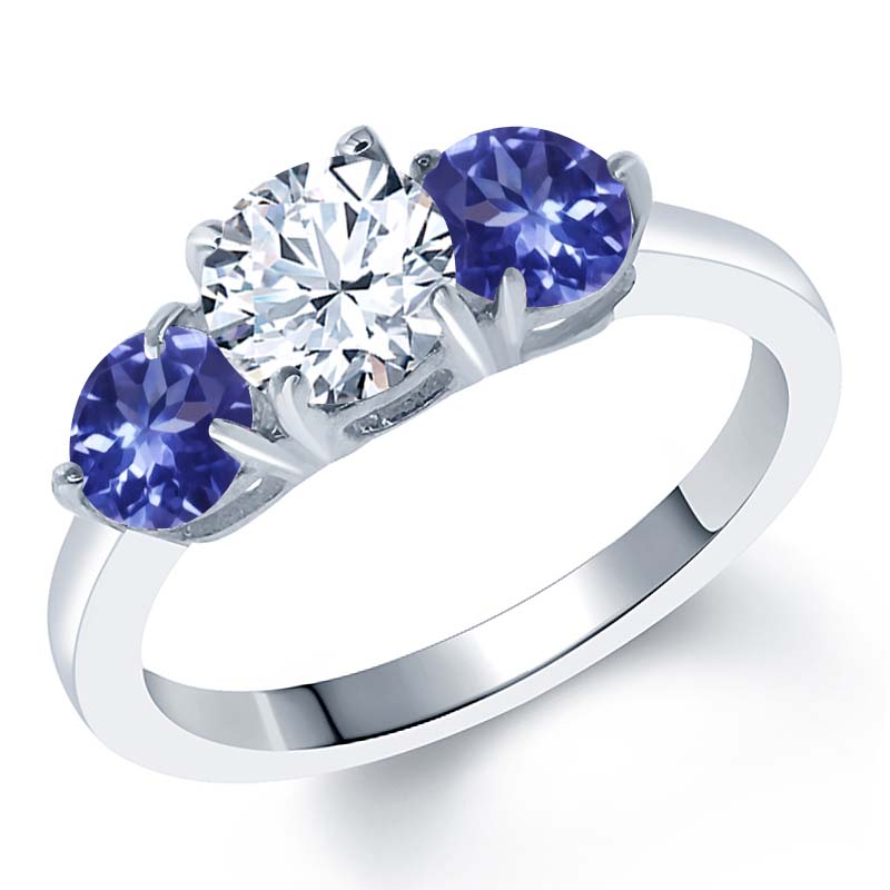 2.12 Ct White Created Sapphire Blue Tanzanite AAAA 925 Sterling Silver Ring by