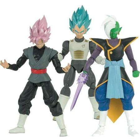 Dragon Ball Dragon Stars Series 4 SSGSS Vegeta, SS Rose Goku Black & Zamasu Set of 3 Action Figures [Fusion Zamasu Build-a-Figure]