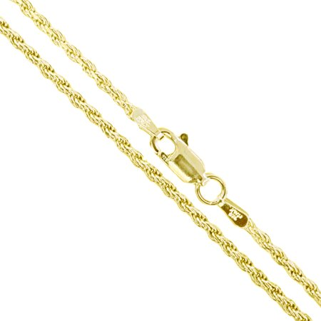 22k Yellow Gold Plated Sterling Silver Diamond-Cut Rope Chain 1.7mm Solid 925 Italy New Necklace (Silver Diamond Cut Criss Cross)