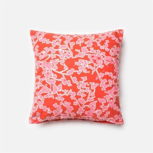 "Loloi 1'6"" x 1'6"" Cotton Poly Pillow in Pink and Coral"