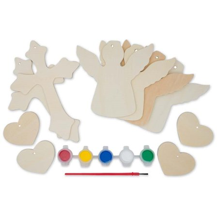 Cut Out Cross - Set of 10 Wooden Cut Outs- Angels, Hearts & Crosses Ornaments
