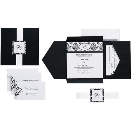 Wilton Scroll Monogram Pocket Invitation Kit, Black/White, 25 Ct