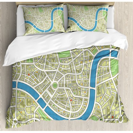 Map King Size Duvet Cover Set  Street Map Without Names Metropolis Capital City Downtown Urban  Decorative 3 Piece Bedding Set With 2 Pillow Shams  Avocado Green Lime Green Blue  By Ambesonne