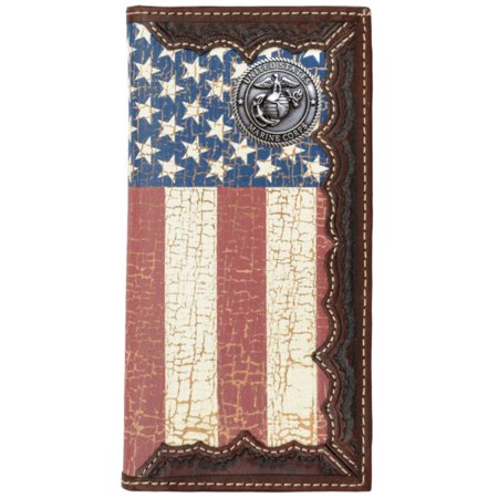Custom United States Marine Corps American Flag Long Wallet with Distressed United States Flag ()