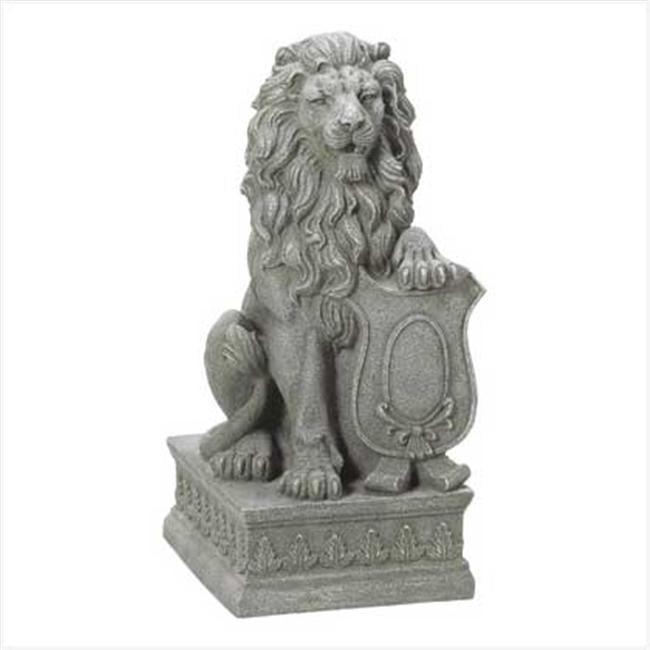 SWM 38624 121/4'' L x 14 1/8'' W x 25'' H Lion Guardian Statue - Fiber Resin