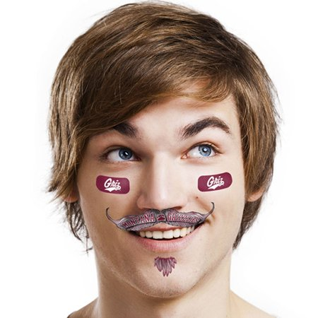 Montana Grizzlies Mustache Temporary Tattoo Pack - No - Finger Mustache Tattoo