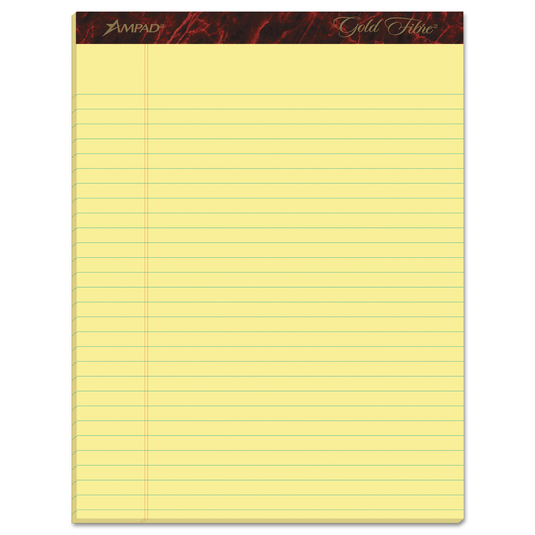 Ampad Gold Fibre Ruled Pad, 8 1/2 x 11 3/4, Canary, 50 Sheets, Dozen -TOP20020