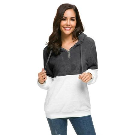 Women's Warm Sherpa Fleece Long Sleeves Hoodie Casual Sweatshirt Pullover Sweater Dark Grey, X-Large