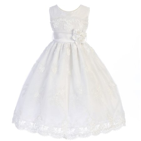 Crayon Kids Little Girls White Embroidered Flower Adorned Dress 3T](Crayon Dress)
