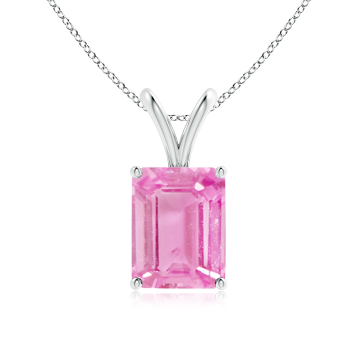 September Birthstone Pendant Necklaces Emerald-Cut Pink Sapphire Solitaire Pendant with Prong Set in 950 Platinum (9x7mm... by Angara.com