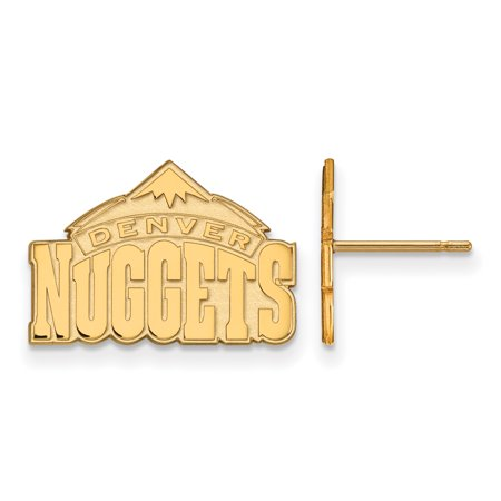 Roy Rose Jewelry Sterling Silver With 14K Yellow Gold Plated Nba Logoart Denver Nuggets Small Post Earrings