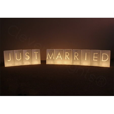 CleverDelights White Luminary Bags - Just Married - 11 Bags - Halloween Luminary Bag Designs