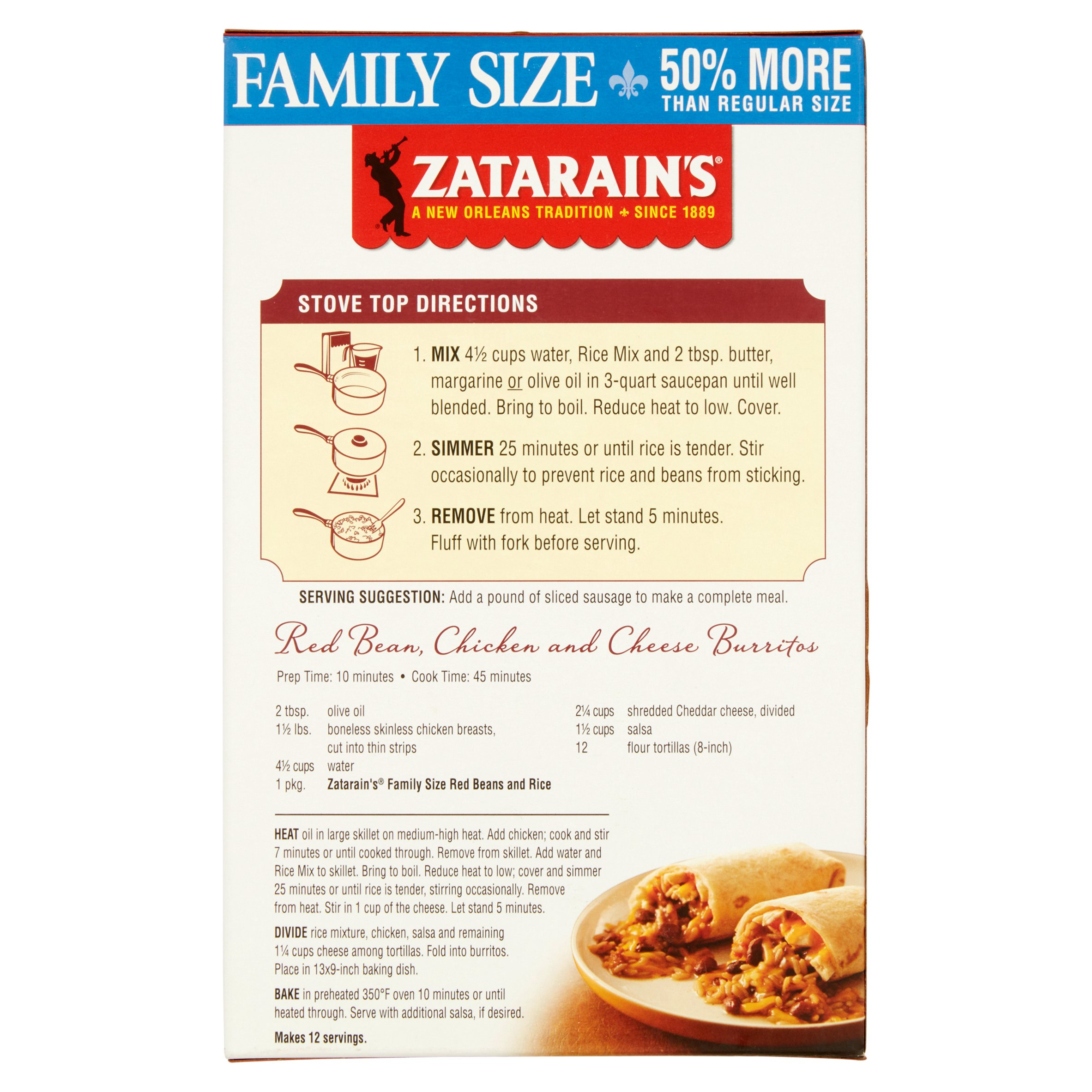 Zatarain's New Orleans Style Red Beans And Rice Original Family Size, 120  Oz Walmart