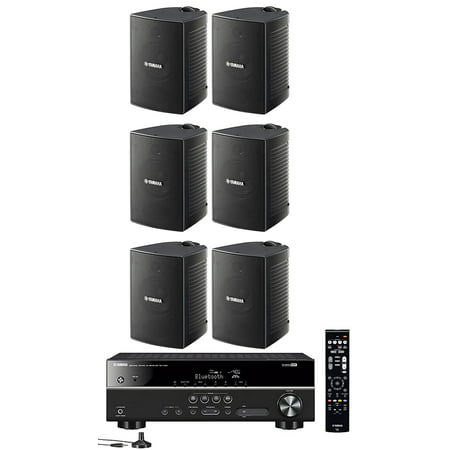Yamaha 5.1-Channel Wireless Bluetooth 4K A/V Home Theater Receiver + Yamaha Natural Sound High performance 2-Way Indoor/Outdoor Weatherproof Speakers (Set Of 6) ()