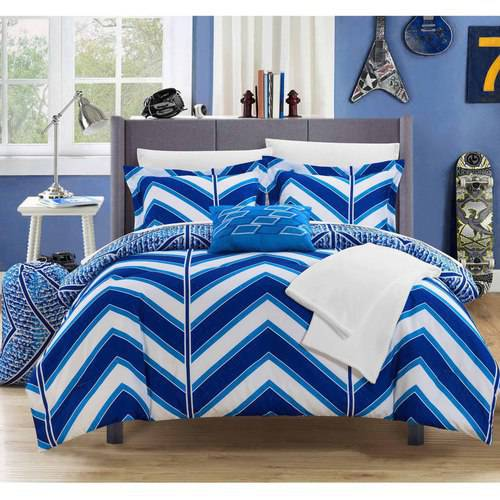 10-Piece Amaretto Chevron and Geometric Printed Reversible Comforter Set Includes Sheets, Duffle Hamper and Fleece Throw