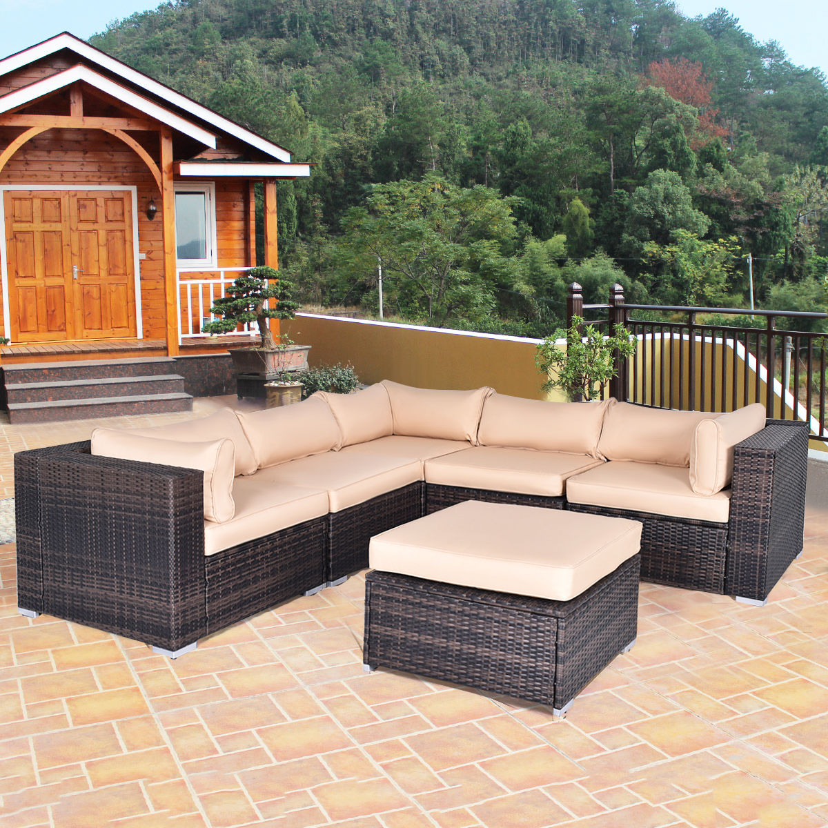 Costway 6 PCS Outdoor Rattan Wicker Furniture Set Sectional Sofa Ottoman  Cushioned Patio